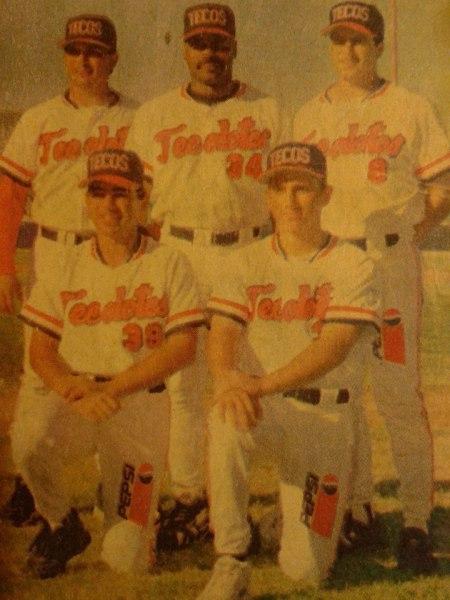 Outfiel de Tecolotes en 1996: Gerardo Sanchez, Quinn Mack, Rex De la Nuez (arriba) Arturo Tejeda y Willie Arano ( abajo).